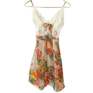 Sheer Floral Silk Slip Chemise French Lace Marie